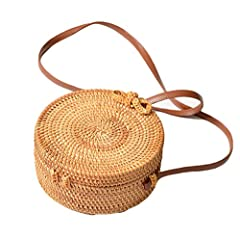 """100% HANDMADE, NATURAL, UNIQUE AND CHIC: Made from 100% natural rattan fiber with elaborate handwoven knit by Vietnamese Artisans SIZE: Approximate Diameter: 8"""" (20 cm) Width: 3.5"""" (8 cm),This shoulder bag is a hand-woven straw bag,it has enough room..."""