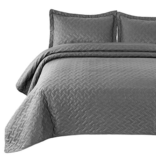 Bedsure Twin Quilt Set Grey Bedspread - Gray Bed Quilt Lightweight Coverlet (Includes 1 Quilt, 1 sham) - Basket Weave Pattern