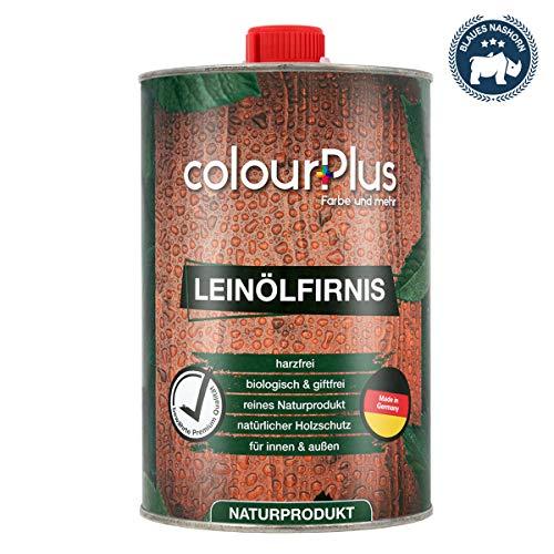 colourPlus® Leinölfirnis (1 Liter, seidenglänzend) Holz ÖL - Leinöl Holz - Holzschutzlasur - Holzöl innen - Holzöl Aussen - Made in Germany