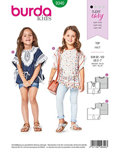 Burda 9340 Schnittmuster Shirt & Poncho (Kinder, Gr. 92-122) Level 1 super Easy