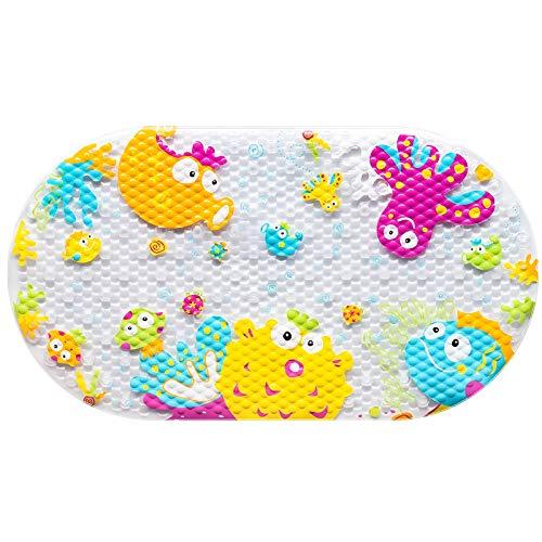 Othway, tappetino antiscivolo per vasca da bagno per bambini, tappetino da bagno antiscivolo per bambini, tappetino per vasca da bagno con ventose, 39 x 69 cm (creatura marita)