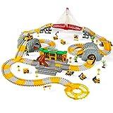 MODEO Race Track Toys, Race Car Flexible Tracks Play Set con estación Multifuncional y Puente Musical Ligero Juguetes de cumpleaños niños de más de 3 años