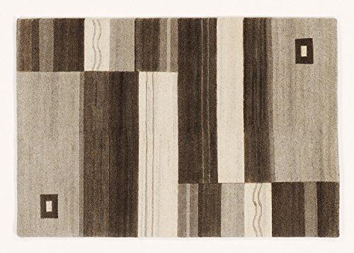 SONORA PURE handgeknüpfter Nepal Teppich Wolle in h.grau-natur, Größe: 120x180 cm
