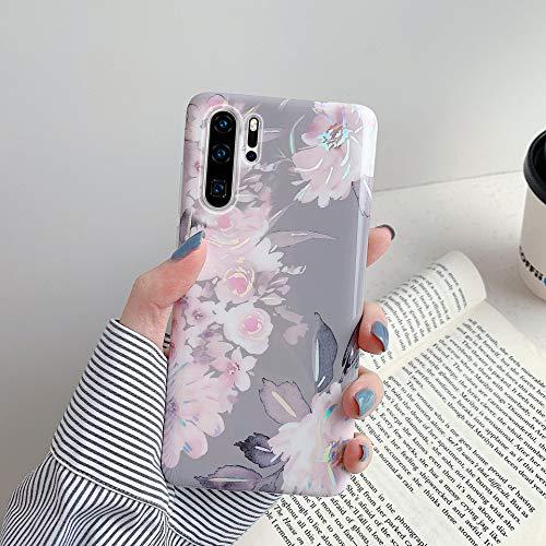 Herbests Kompatibel mit Huawei P30 Pro Hülle Glänzend Bunt Blumen Weich Silikon Handy Schutzhülle Ultra Dünn Handytasche Case TPU Silikon Hülle Case Tasche Rückseite Glitzer Hülle,Grau