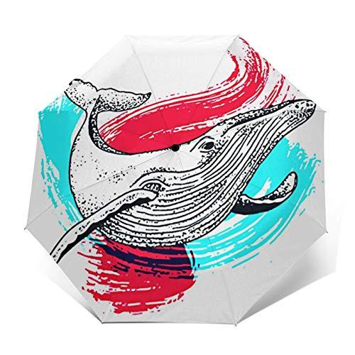 Paraguas Plegable Automático Impermeable Salpicadura de Pintura de Ballena, Paraguas De Viaje Compacto a Prueba De Viento, Folding Umbrella, Dosel Reforzado, Mango Ergonómico