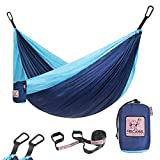 Camping Hammock Single Size for One Person Portable Hammock with 2 Tree Straps Made of Lightweight Nylon Parachute for Backpacking,Travel,Beach,Yard and Outdoor Survival, Classic Blue & Light Blue