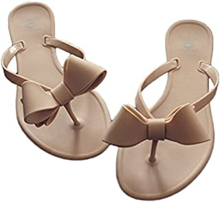 Shoe'N Tale Women Ribbon Bow Sandals Flip Flops Narrow Strap