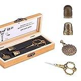 Herramientas y accesorios de coser portátiles de 5 piezas, tijeras vintage, dedales de metal, cortador de hilo con caja