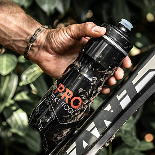 Insulated Bike Water Bottle 680 ml 24 oz - Bonus Sports Carry Loop - for All Fitness and Cycling - Keep Drinks Cold, Longer - Soft Silicone Mouthpiece – Fast Flow Valve - Easy Squeeze Bidon - BPA Free