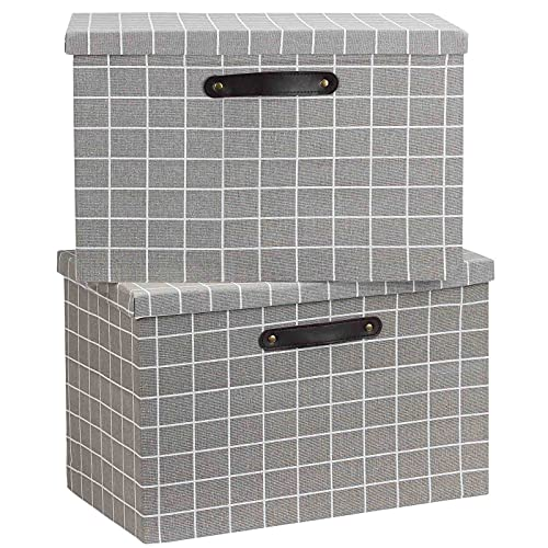 Febzoce Large Foldable Storage Box with Lid, Linen Fabric Clothing Storage Bins, Collapsible Storage Basket Cubes Organizer for Toys, Shelves, Towels, Books, 44 x 31 x 29 CM (Grey Grid, 2-Pack)