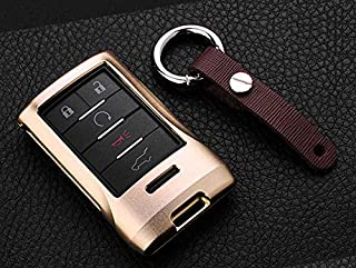 121Fruit Way Key Fob Cover for Cadillac Key Fob Case for 2015-2019 Cadillac Escalade CTS SRX XT5 ATS STS CT6 5-Buttons Premium Soft TPU 360 Degree Full Protection Silver
