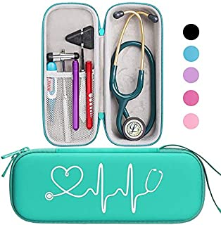 BOVKE Travel Carrying Case for 3M Littmann Classic III Stethoscope - Extra Room for Taylor Percussion Reflex Hammer and Reusable LED Penlight,Emerald