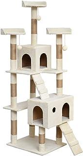 """ZYLE 72.8""""أثاث منزل شجرة القط كبير مع المشاركات الخدش مغطاة بالجوت، العليفة القطيفة و 2 كبرى كوندوز، كرات تتدلى"""