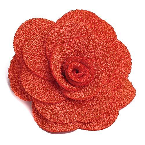 Sunrise Outlet Double Knit Crepe Lapel Flower Boutonniere - Bright Orange
