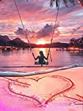 Zeyevan Fai Da Te Kit Diamond Painting Completo Spiaggia sull'oceano, Pittura Diamante 5D Kit Amore Swing Ricamo a Punto Croce con Strass, Decorazione in Tela Decorazione da Parete 30x40cm