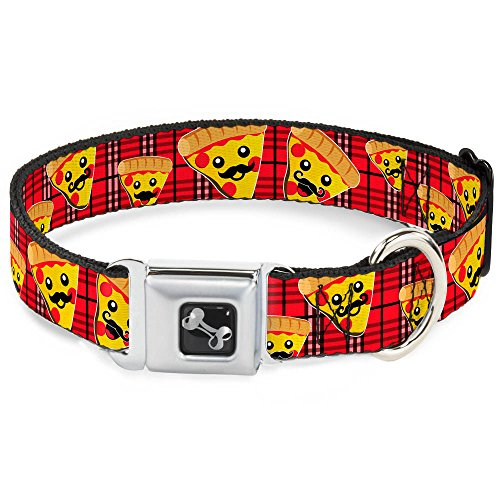 "Buckle-Down Seatbelt Buckle Dog Collar - Pizza Man Plaid Red - 1"" Wide - Fits 15-26"" Neck - Large"