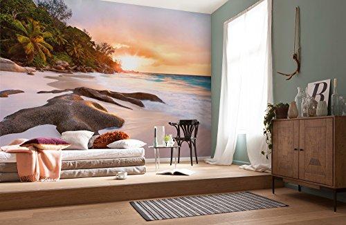 Komar Vlies Fototapete | NATURE | 368 x 248 cm | Tapete, Wand, Dekoration, Wandbelag, Wandbild, Wanddeko, Sandstrand, Sonnenuntergang, Palmen | XXl4-048