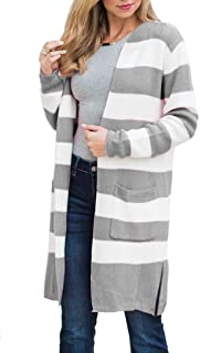 Yskkt Womens Boho Long Cardigans Plus Size Color Block Striped Loose Fall Knit Sweaters Duster Coats - Gray - 4X