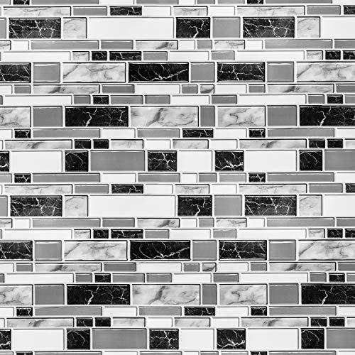 Caltero Schwarz-weiße Tapete für Küche, 30 cm x 10 m, zum Abziehen und Aufkleben, Fliesentapete für Backsplash wasserdicht, selbstklebend, entfernbar, Fliesentapete für Badezimmer