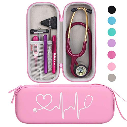 BOVKE Travel Carrying Case for 3M Littmann Classic III, Lightweight II S.E, MDF Acoustica Deluxe Stethoscopes - Extra Room for Medical Bandage Scissors EMT Trauma Shears and LED Penlight, Pearl Pink