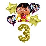 Yanqhua Lámpara de Techo 6pcs / Lot Dora el Explorador Globos Educación Globo de la Hoja Botas Balones de cumpleaños de los niños decoración del Partido Regalo Lámpara (Color : Gold3)
