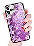 Stilluxy Compatible with iPhone 12 pro max case Bling Cute qicksand Butterfly i Phone Cover 12max Luxury for Women and Girl 2020 5g 6.7 inch (Purple)