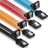 JeoPoom Cavo SATA III[4 Pezzi], Cavo SATA a Serial ATA ad Alta velocità di 6Gbps Sata Cable, Angolo Retto 90 Gradi, per HDD SATA, SSD, Driver CD, Masterizzatore CD, Cavo Lungo 50cm