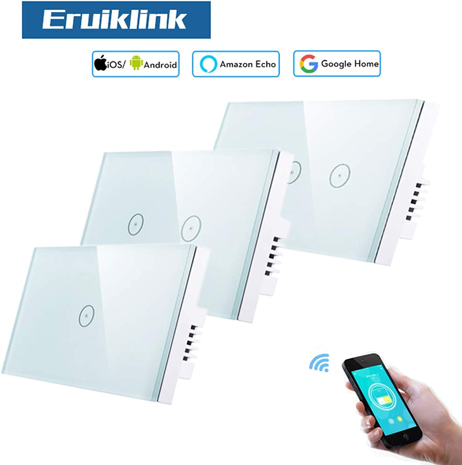 Eruiklink WiFi 1 2 3Gang Crystal Glass Touch Switches, Smart WiFi Light Switches Compatible with Alexa for Smart Home APP Control  (Voltage  110240, Number of Gangs  2Gang, Standard  US Standard)