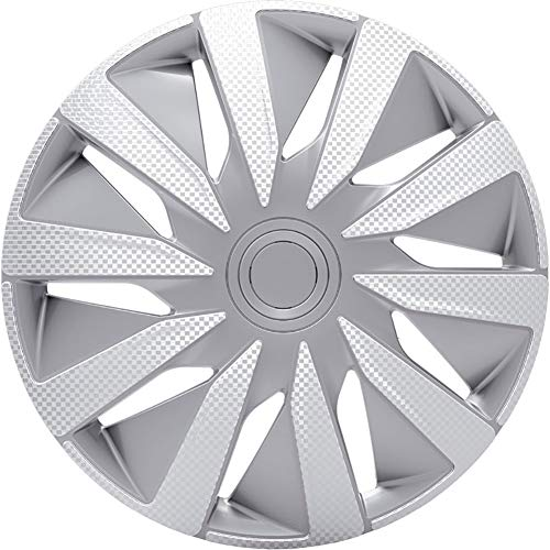 Jeu d'enjoliveurs J-Tec Lazio 14-inch argent/look-carboné