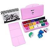 Arrtx Gouache Paint Set, 18 Vivid Colors x 1oz Unique Jelly Cup Design with Palette for Artists, Students, Watercolor Gouache Painting (Pink)