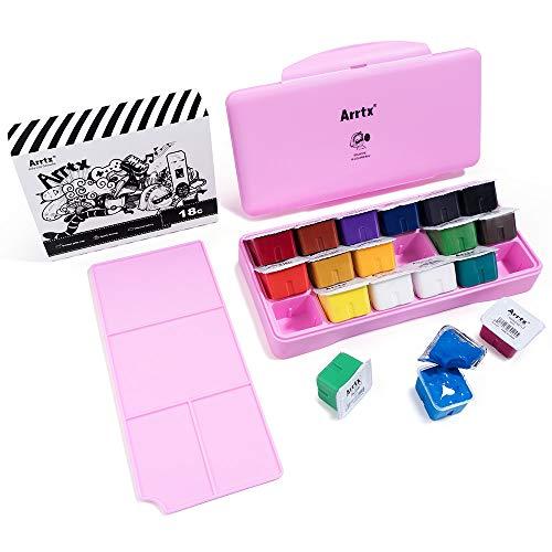 Arrtx Gouache Paint Set, 18 Vivid Colors Unique Jelly Cup Design with Palette for Artists, Students, Watercolor Gouache Painting (Pink)
