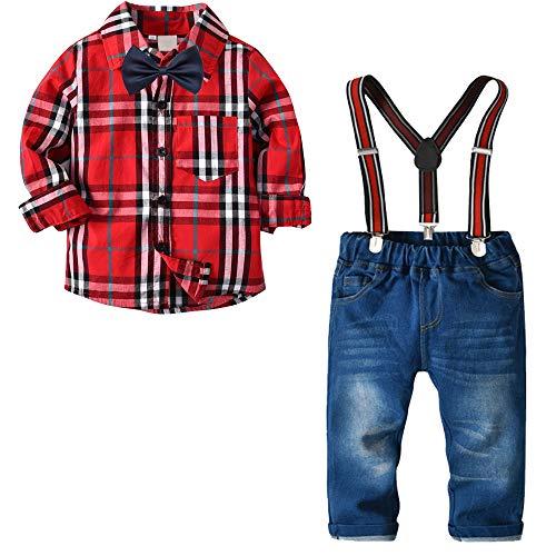 Nwada Jungs Anzug Frühling Kinder Kleidungs Hochzeit Set Hemd Rot Kariert und Hosenträger Jeans und Fliege 4-5 Jahre