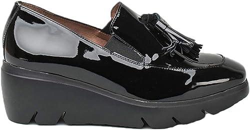Wonders c-5304, Chaussure Mocasin Cuir Vernis Noir Femme
