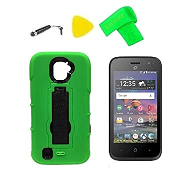 Hybrid Cover Case Phone + Screen Protector + Extreme Band + Stylus Pen + Pry Tool For ZTE Jasper LTE Z718TL  Kickstand Green-Black