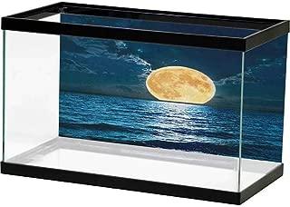 Andrea Sam HD Aquarium Background Ocean,Dreamy Hot Tropical Sea Coast with Soft Waves and Sunny Sky Landscape Nature Life, Cream Blue Background Aquarium