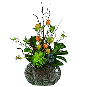 NYKK Home Garden Artificial Flowers with Vase, Fake Flowers Silk Flower Arrangement for Home Farmhouse Office Table Wedding Party Indoor Decoration