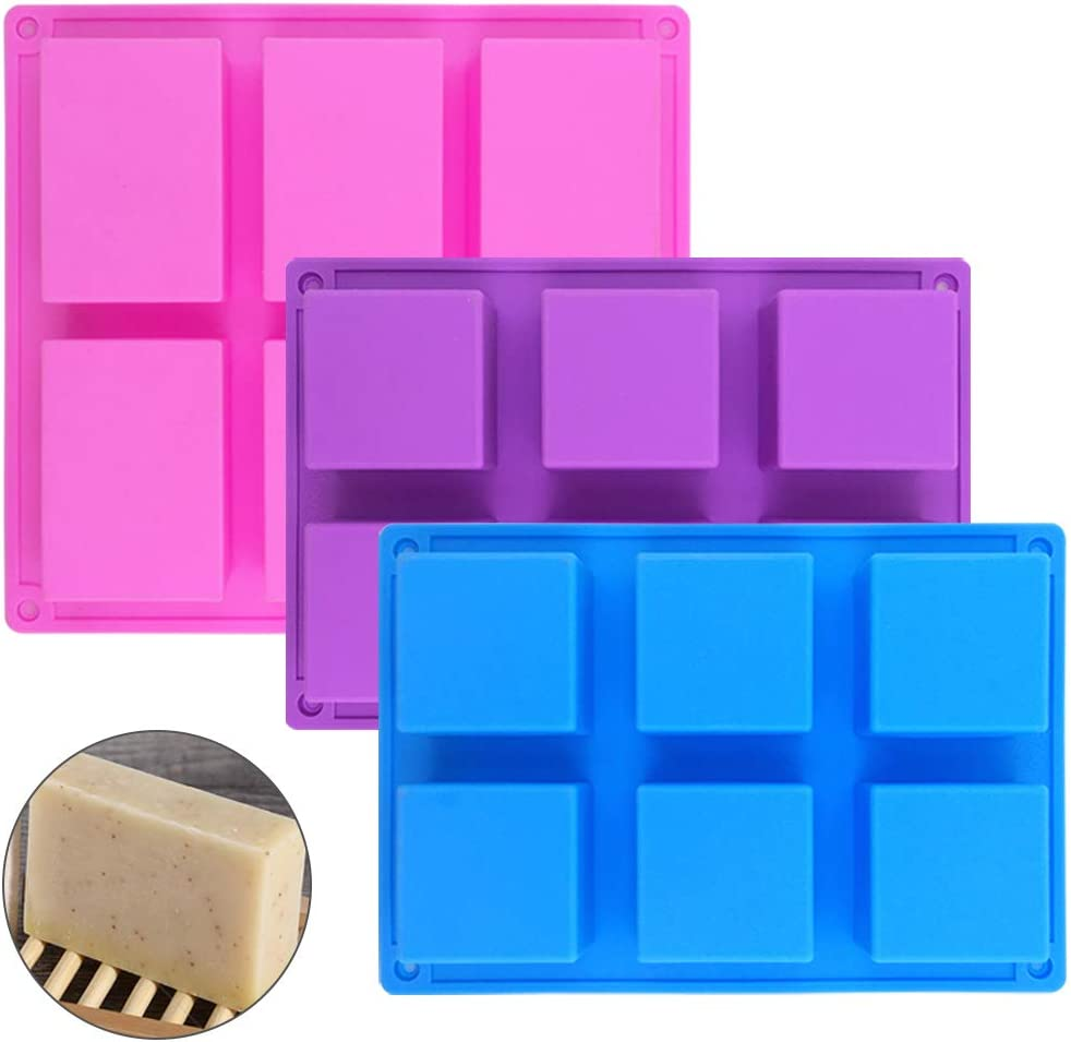 Rectángulo de 1 PC & 2 piezas de moldes de jabón de silicona cuadrados,SENHAI Sartenes para hornear pan de 6 cavidades,Candy Bandejas De Cubitos De Hielo Hechas A Mano DIY - Rosa, Azul, Púrpura