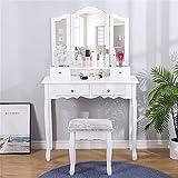 Poazmron Tocador de maquillaje con espejo de tres pliegues (3 espejos irregulares y 4 cajones), estación de maquillaje con espejo y taburete, mesa de maquillaje para dormitorio de color blanco