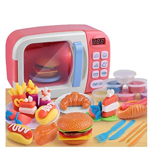 BriskyM Juguete de Microondas Horno Cocina Juguetes con Luz para Niños, Aparatos de simulación Juguetes educativos Comida Cocina electrónica Juguetes para niños y niñas (Rosa, 1)