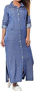 Denim T-Shirt Dress Long Sleeve Maxi Dress For Women With Pockets