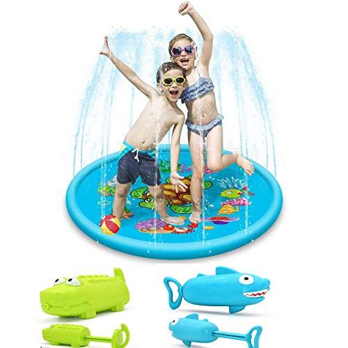 IAIZI Splash Pad de riego for los niños, 68' Fiesta al Aire Libre de Agua Mat Juguetes, Juguetes inflables del Agua Piscina con Agua Pistola de Juguete ZGHE