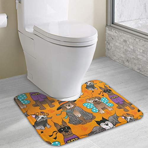 Halloween Dog Party Area Rugs Toilet mat U Type pad Thicken Non-Slip Floor mat Bathroom Absorbent pad Fashion Home Decoration