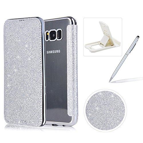 Coque Galaxy S8 Clapet,Paillettes Housse Étui en Cuir pour Samsung S8, Herzzer Luxe Bling Glitter PU Leather Case avec Clair TPU Silicone Placage Technologie Backcover pour Samsung Galaxy S8 - Argent