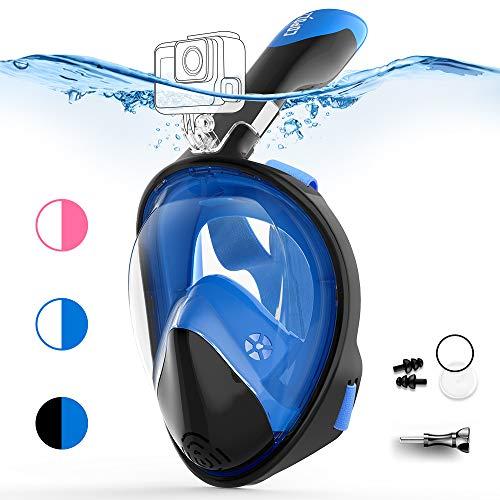 COPOZZ Vollgesichts-Schnorchelmaske für Erwachsene - 180 ° GoPro-kompatible Schnorchelmaske, Anti-Fog-, Anti-Leck-Schnorchel- und Schwimmmaske (Schwarz blau, L/XL)