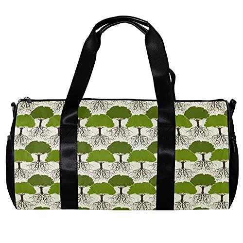 Bolsa de deporte redonda con correa de hombro desmontable árbol con raíces sin costuras patrón de entrenamiento bolso de noche para mujeres y hombres