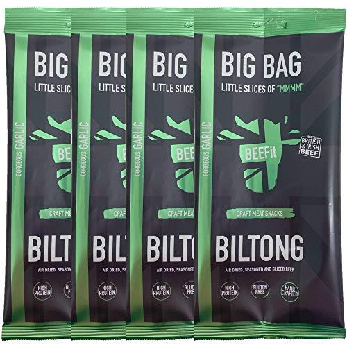 BEEFit Snacks 1kg (4x250g) Knoblauch Biltong, Hohes Protein, Gesund, Wenig Zucker, Nicht Beef Jerky