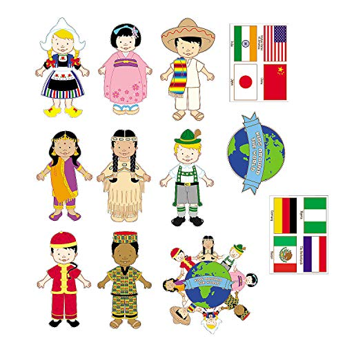 Multicultural Kids From Around The World - set of 12 diverse cardboard cutouts