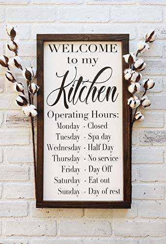 Flowershave357 Welcome to My Kitchen Rustic Framed Wood Sign Farmhouse Kitchen Decor Kitchen Operating Hours Gift for her