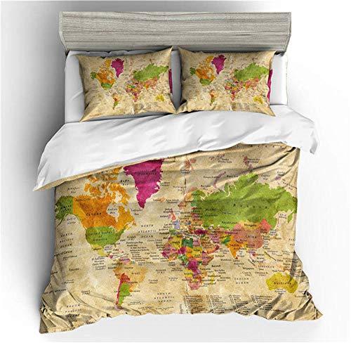Smile Mappa del Mondo Biancheria da Letto per Bambini, Copripiumino in 3 Pezzi Federa Letto Singolo Letto Matrimoniale Extra Large Lenzuola comode in Poliestere,02,GBSingle55×82.7in