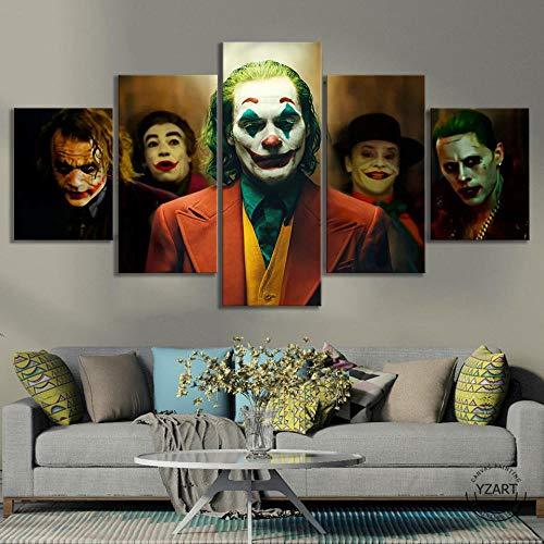 VENDISART,Leinwanddrucke,Modulare Wandkunst Wandaufkleber,5 Teiliges Wandbild,Joker 2019 Filmplakat,Mit Rahmen,Größe:M/B=150Cm,H=80Cm
